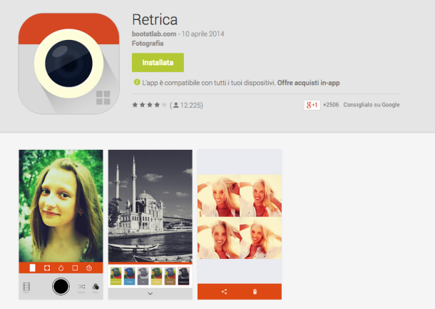 di foto, editing, filtri e selfie a go go Retrica arriva su Android