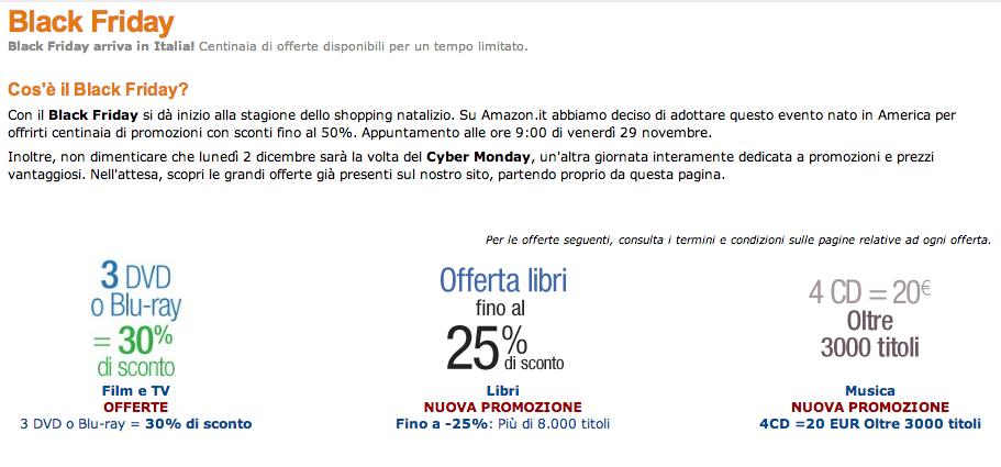 Amazon porta il black friday e il cyber monday in italia - Black friday porta di roma ...